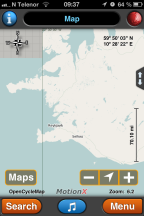 Selected area on map MotionX GPS